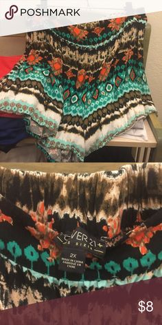 Forever 21+ southwest tribal print shorts Shorts from Forever 21. They are a size 2x, which fit more like a 1x. I wore them once - they were too short for me and I'm not cool enough to really wear Forever 21. Elastic waist, kind of a drape-y style to them. Forever 21 Shorts