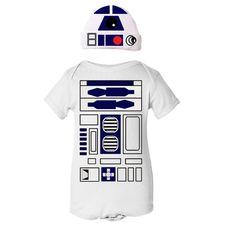 Star Wars R2D2 Droid Robot Halloween Costume Onesie and Hat Set