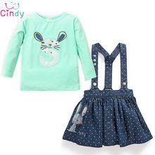 2PC Baby Girls Kids Rabbit Tops+Dot Denim Overalls Dresses Skirts Outfit…