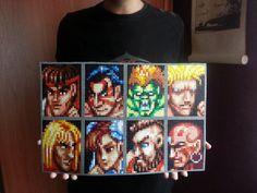 Streetfighter hama Beads Perler Bead Art, Perler Beads, Super Street Fighter 2, Hama Beads Patterns, Sprites, 8 Bit, Pixel Art, Art Projects, Beading