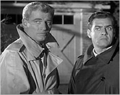 The film noir look with Paul Drake and Perry Mason sleuthing in trench coats.