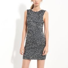 """Alice + Olivia Black and Silver Sequin Dress Wild and one of a kind Alice + Olivia dress with black and silver sequins in various zig zagged geometric patterns. Size 4 but could fit a size 6 (I myself am one). Zips in the back, has a lining and length is 34"""". Worn once, still in good condition but has a few areas where sequins are missing. It isn't terribly noticeable I've attached pictures and the price of the dress accounts for it, however I am willing to negotiate. Alice + Olivia Dresses"""