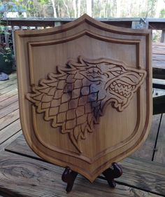 Game Of Thrones-House Stark Dire Wolf Shield by WoodByHandLLC