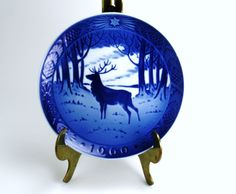 Royal Copenhagen Blue and White Collectible China Christmas Plate , Jul 1960 , The Stag