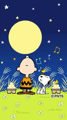 Howling at the Moon, Charlie Brown, Snoopy and Woodstock.❤️