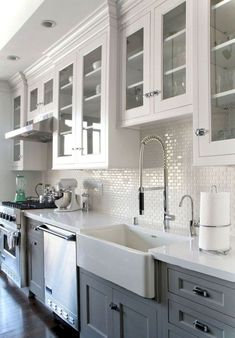 60 Incredible Farmhouse Gray Kitchen Cabinet Design Ideas