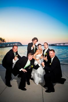 Bride with Groomsmen photo.. this has Mallorie's name written all over it lol