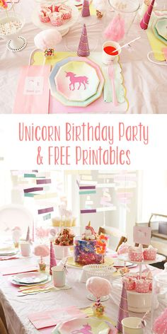 unicorn-birthday-party-free-printables, unicorn birthday party ideas, cotton candy, birthday party for girls Unicorn Birthday Parties, Birthday Fun, First Birthday Parties, Birthday Party Themes, First Birthdays, Birthday Ideas, Birthday Decorations, Rainbow Unicorn Party, Rainbow Birthday