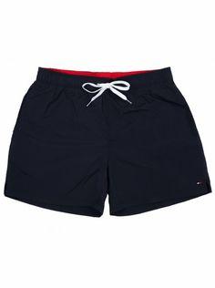 Tommy Hilfiger presents these swim shorts with two hip pockets, brand stitched logo at the hem, adjustable drawstrings at waist and velcro back pocket. Tommy Hilfiger Presents, Go Blue, Swim Shorts, Men Fashion, Indigo, Navy, Denim, Stylish, Swimwear