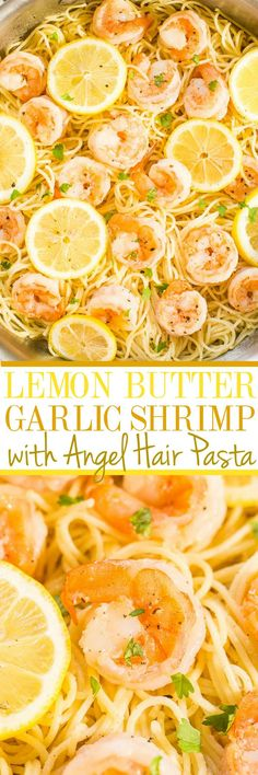 Butter Garlic Shrimp with Angel Hair Pasta - Easy and ready in 15 minutes! Big lemon flavor, juicy shrimp, and buttery noodles all in one dish everyone will love! A healthy weeknight dinner for those busy nights!Lemon Butter Garlic Shrimp with Angel Hair Fish Recipes, Seafood Recipes, Dinner Recipes, Cooking Recipes, Healthy Recipes, Cake Recipes, Recipies, Lemon Recipes, Sausage Recipes