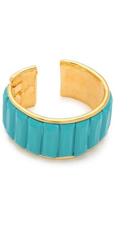 turquoise and gold deco cuff