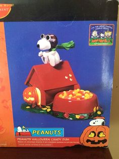 DEPT 56 PEANUTS Snoopy Red Baron Dog House Great Pumpkin HALLOWEEN CANDY DISH