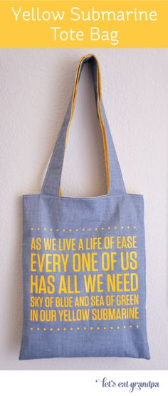 Yellow Submarine Tote Bag made with a Cricut Explore -- Let's Eat Grandpa. #DesignSpaceStar Round 2