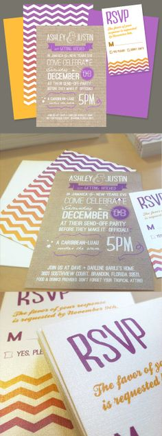 chevron wedding invitation - so funky!