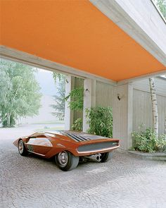 (Orange) Lancia Stratos Zero (1970) photographed by Benedict Redgrove.