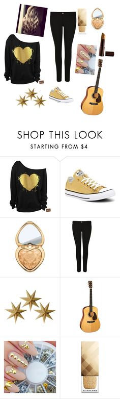 """""""Gold 💰"""" by gabrielagabi-i ❤ liked on Polyvore featuring Converse, Too Faced Cosmetics, Armani Jeans, LumaBase, Burberry and Fashion Fair"""