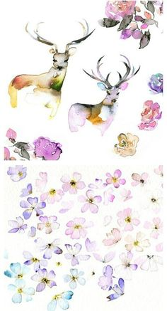 I know first hand how difficult it is to paint with watercolors and I really think Holly has mastered the art. Her ethereal woodland inspired paintings remind me of animal spirits floating through the forest in Spring. Aren't they the loveliest?