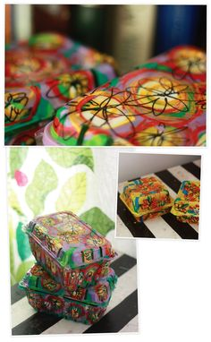 Berry Baskets - marked with permanent markers and then painted on the inside.  Use as reusable wrapping paper or storage.