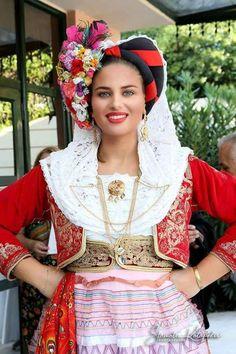Traditional Costume of Corfu Island Greek Traditional Dress, Traditional Outfits, Gypsy Costume, Folk Costume, Greece Costume, Folklore, Folk Dance, Greek Clothing, Festival Wear