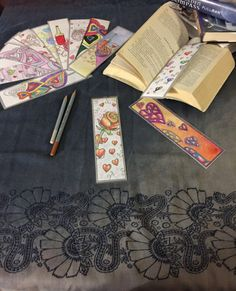 4-unique Bookmarks for coloring by AlexIllustrationsArt on Etsy