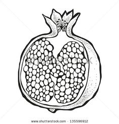 Vector illustration of pomegranate royalty-free stock vector art Ceramic Painting, Fabric Painting, Pomegranate Drawing, Pomegranate Tattoo, Food Illustrations, Illustration Art, Arte Judaica, Granada, Fruit Art