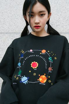 [MIXXMIX] HIDE AND SEEK EMBROIDERED SPACE THEME SWEATSHIRT