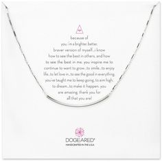 Dogeared Because of You. Curved Bar Necklace, 16 featuring polyvore women's fashion jewelry necklaces silver silver jewelry bar pendant necklace dogeared necklace silver jewellery bar necklace