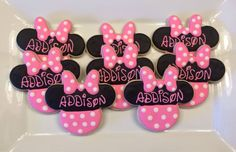 Minnie Mouse Cookies - One Dozen by CookiesByHannah on Etsy https://www.etsy.com/listing/199649890/minnie-mouse-cookies-one-dozen