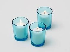 Set of 72 Aqua Votive Holder and Candles