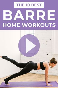 From beginner barre workouts, to barre ab workouts, to advanced cardio barre fitness workouts -- these 10 online barre classes offer something for everyone! Barre at home and tone your legs, butt, thigh, arms and abs! Sculpt and tone at home with these 10 FREE Barre Workouts At Home! #barre #barreworkout #barreonline #barreclass Barre Workout Video, Barre Fitness, Barre Workouts, Fitness Workouts, Workout Videos, At Home Workouts, Workout For Beginners, Beginner Workouts, Beginner Pilates