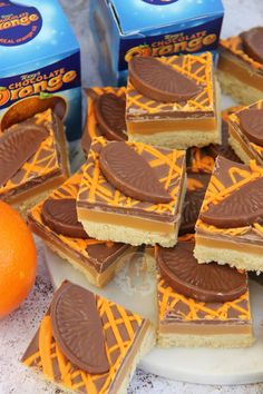 Buttery Orange flavoured Shortbread, Delicious Homemade Caramel, and Terry's Chocolate Orange Goodness on top. So, yeah… Chocolate Orange themed Millionaires Shortbread anyone? Tray Bake Recipes, Baking Recipes, Cake Recipes, Dessert Recipes, Yummy Treats, Sweet Treats, Yummy Food, Short Bread, Terry's Chocolate Orange