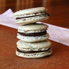 Black and White Macarons - crisp vanilla cookies filled with creamy ...