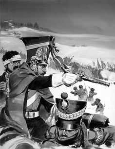 Napoleons Army Retreats From Moscow.  Napoleon's troops being harassed by locals during their retreat from Moscow.
