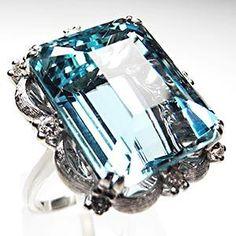 Vintage Cocktail Rings Natural Aquamarine & Diamond