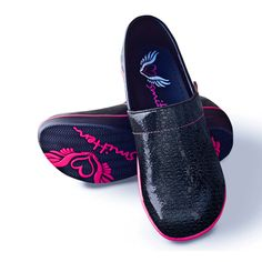 This Smitten #nursingclog features a unique textured foil polyurethane-coated leather upper.