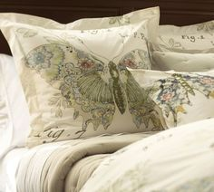 Pottery Barn: Butterfly Script Duvet Cover. For the guest room?