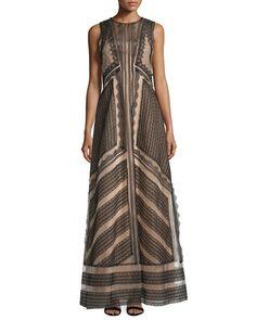 W0ATD Alberta Ferretti Sleeveless A-Line Lace Gown, Black/Nude