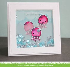 Lawn Fawn - So Jelly, Ocean Waves Borders, Stitched Square Stackables _ card by Nichol for Lawn Fawn Design Team