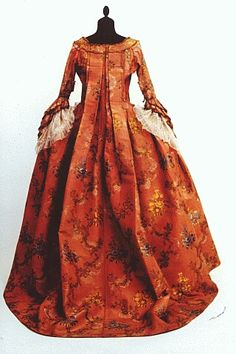 Robe à la française (sack-back gown), c. 1770-75. Georgian era.