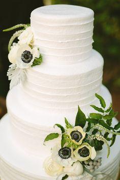 Summer anemone topped wedding cake: http://www.stylemepretty.com/california-weddings/fullerton/2016/01/04/rustic-summer-wedding-at-muckenthaler-mansion/   Photography: Perpixel - http://www.perpixelphoto.com/