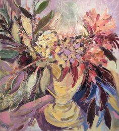 Chrissie's Flowers Oil on Board 48 x 43 cm  #Art #Paintings #StillLife