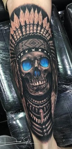 I genuinely appreciate the different shades, lines and linework. This is the definition. - I genuinely appreciate the different shades, lines and linework. This is definitely an incredible ta - Red Indian Tattoo, Indian Skull Tattoos, Indian Tattoo Design, Indian Tattoos For Men, Skull Tattoo Design, Leg Tattoo Men, Forearm Tattoos, Body Art Tattoos, Tatoos