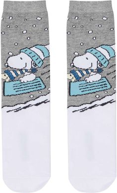 Womens white christmas snoopy sleigh socks from Topshop - £3.50 at ClothingByColour.com