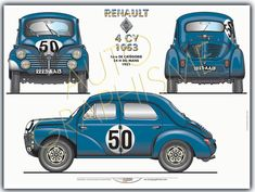 Renault 4 Cv 1063 Sport Cars, Blueprint Drawing, Automobile, Wooden Car, Car Drawings, Car Painting, Rally Car, Le Mans, 1950s