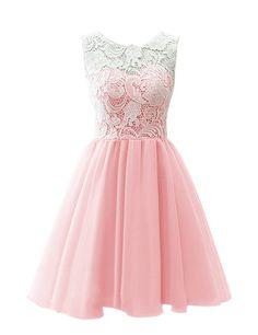 MicBridal® Kurz Chiffon Spitze Ballkleid Blumenmädchenkleid für Damen und Mädchen Grau ca. Alter 2