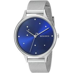 Skagen Anita Stainless Steel Mesh Watch (380 SAR) ❤ liked on Polyvore featuring jewelry, watches, stainless steel watches, stainless steel jewelry, mesh jewelry, mesh watches and skagen jewelry