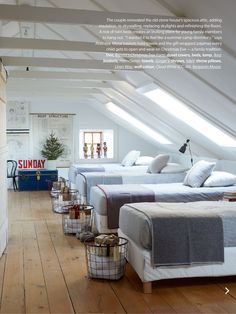 """""""Christmas in the Country"""" from House & Home Magazine, November Bunk room. Bunk Rooms, Attic Bedrooms, Home Bedroom, Bedroom Decor, Bedroom Beach, Bedroom Ideas, Lake House Bedrooms, Boys Farm Bedroom, Triplets Bedroom"""