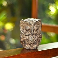@Overstock - Figurine of an owl made of volcanic ash  Color: Brown  Materials: Volcanic ash and cementhttp://www.overstock.com/Worldstock-Fair-Trade/Stone-Owl-Statuette-Indonesia/6355585/product.html?CID=214117 $31.99