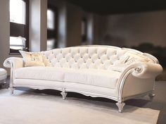 2 Seater Leather Sofa With Wooden Arms