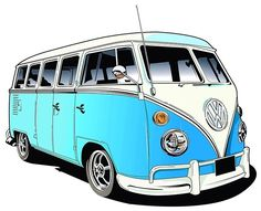 Mens T-Shirt, Vw Camper Van Blue, Ideal Gift Or Birthday Present.